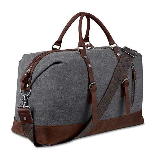 WZSP Reisetasche/Reisetasche, Segeltuch, Echtes Leder, für Damen und Herren, Kinder, grau