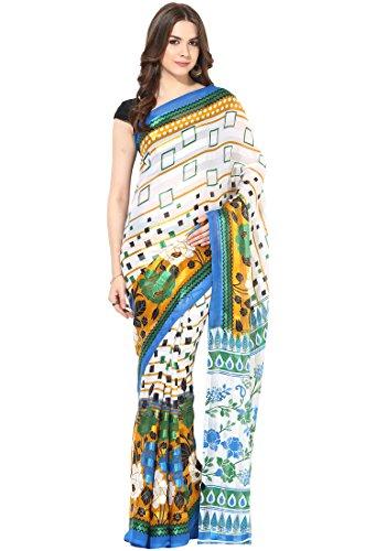 Fostelo Women's Chiffon Saree With Blouse Piece (Pcs-154, White, Free Size)