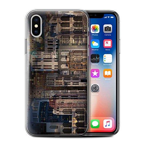 Stuff4 Gel TPU Hülle / Case für Apple iPhone X/10 / Reise/Schiff Muster / Städtisch Straße Kunst Kollektion Nacht Stadt