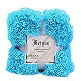 squarex Bettdecke/Sofadecke, lang, zottelig, kuschelig, flauschig, Kunstfell, superweich, warm, Überwurf Size:130 X 160cm himmelblau