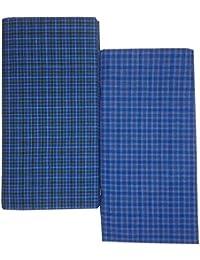 SBNLIFESTYLE Men's Cotton Stitched Lungis (Multicolour, Free Size) - Set of 2 Pc