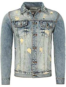 Y-Two Hombres Jean Jacket ARIZONA Vintage Busque destruido Effekte con Aplicaciones Endeble
