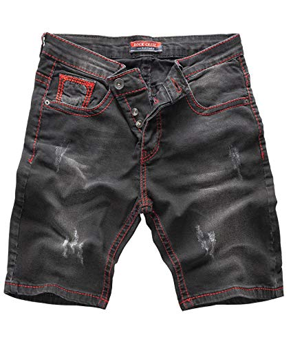 Rock Creek Herren Shorts Jeansshorts Denim Stretch Sommer Shorts Regular Slim [RC-2129 - Black Red - W33] -