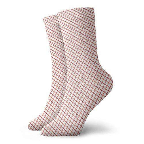 White Stripes Gingham Orange Tattersall Red Adult Short Socks Cotton Fun Socks for Mens Womens Yoga Hiking Cycling Running Soccer Sports -
