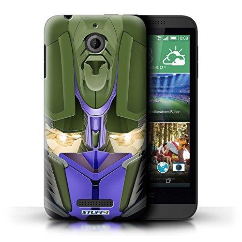 Kobalt® Imprimé Etui / Coque pour HTC Desire 510 / Opta-Bot Jaune conception / Série Robots Opta-Bot Bleu