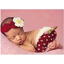 hobees Cute recién nacido niño niña bebé disfraz Fotografía Props fresas  gorro pantalones db1f4f2904d