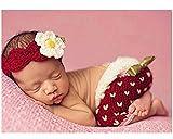 hobees Cute recién nacido niño niña bebé disfraz Fotografía Props fresas gorro pantalones