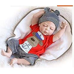 ZIYIUI 20 inch 50cm Réaliste Reborn bébé poupée Plein Corps Doux Vinyle Silicone Reborn bébé Garcon Magnétique Bouche Yeux fermés bébé Jouets