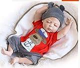 ZIYIUI Reborn Baby Puppe 20 Zoll 50cm Voller Silikon-Vinyl-Körper Lebensecht Neugeborenes Baby Junge Schlafende Puppen Magnetisch Schnuller Spielzeug