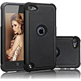 iPod Touch 6 Case , iPod Touch 5 Case , AUMIAU Hybrid Dual Layer Shock Absorbin Armor Defender Protective Case Cover (Hard Plastic with Soft Silicon) for Apple iPod touch 5 6th Generation (Black)