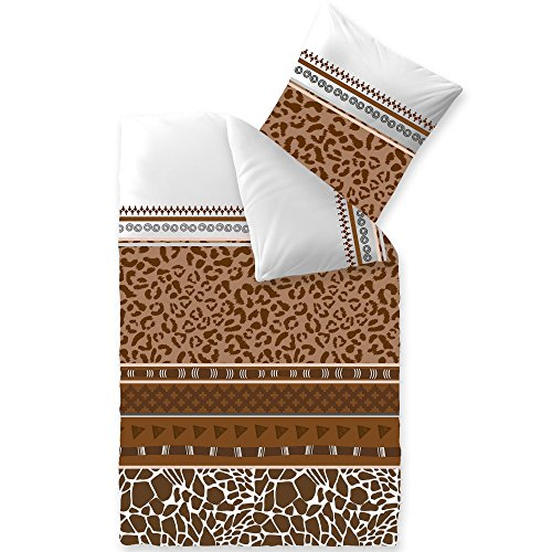 aqua-textil Trend Bettwäsche 155 x 220 cm 2-teilig Bettbezug Baumwolle Ebony Leopard Streifen weiß braun 0011727