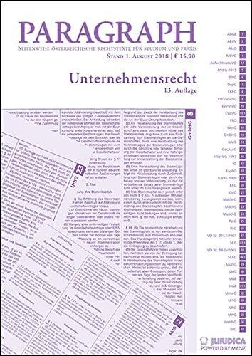 Unternehmensrecht: Paragraph. Seitenweise österreichische Rechtstexte für Studium und Praxis (Edition Juridica)