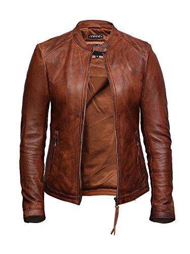 Brandslock Damen Leder Biker Jacke aus hochwertigem, gewachstem Lammleder (Bräunen, XS) (Schaffell-leder Braune)