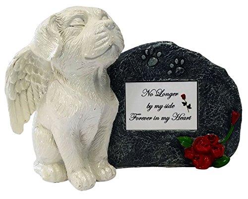 Impressum Plus Weiß Engel Gedenk-Statue Hund mit Tribute Teller und Andenken Box für Asche von, No Longer by My Side, White Plate
