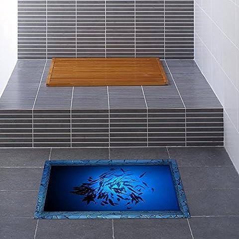 Ungfu Mall 1 pc pag 3D de salle de bain antidérapant Motif Poisson mer Sticker sol imperméable lavable en machine de douche de décoration de chambre