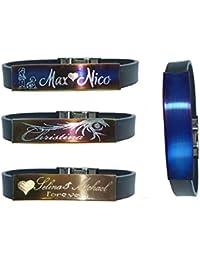 Schildarmband aus Edelstahl und Kautschuk - Armband, Armkette, Armreif für Sie und Ihn mit Gravurplattte incl. Gravur 17 - 21 cm