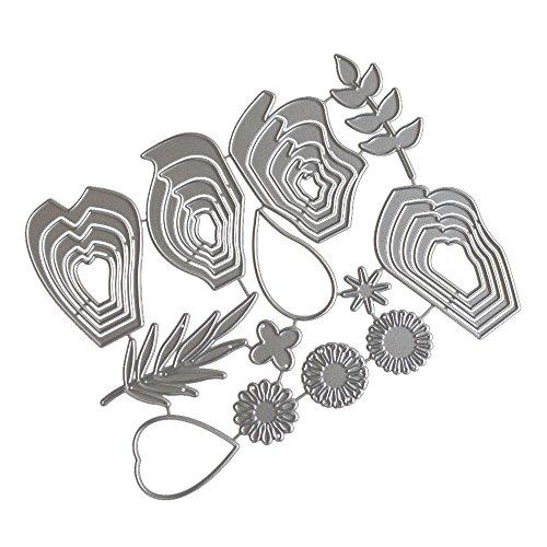 Trada Stanzschablonen, Neue 9 Stück Metall Stanzformen Blumen Silber Herz Metall Schablonen DIY Scrapbooking Album Papier Karte Handwerk Schneiden Papier Karten Sammelalbum Deko (F)