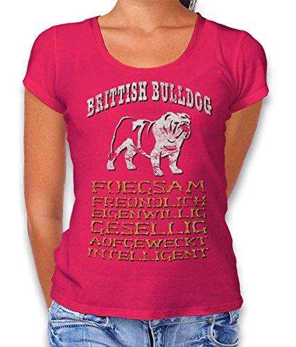 Hund Brittish Bulldog Damen T-Shirt Fuchsia XL (Rosa Damen Bulldog T-shirt)