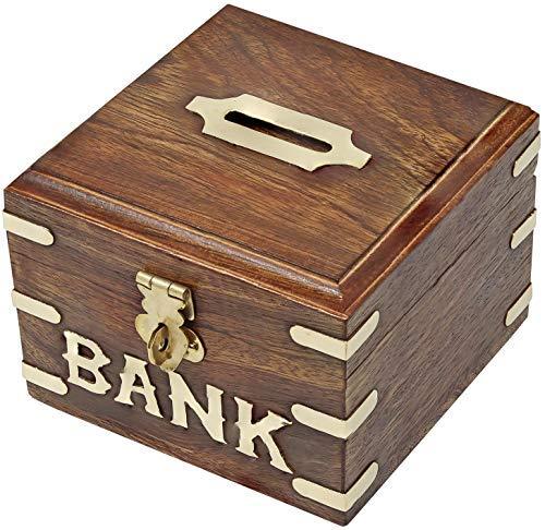 SKAVIJ Banco De Dinero De Madera Hecho A Mano Niños