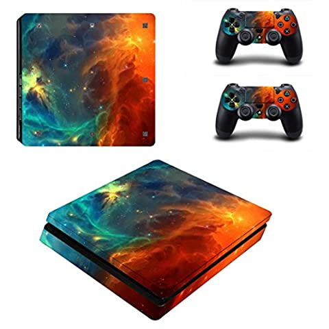 Stillshine PS4 Slim Vinyl Skin Decal Autocollant Sticker pour Playstation 4 Slim console & 2 Dualshock Manette Set (Starry Blue-Orange)
