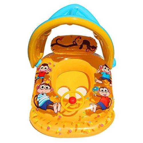 Artistic9 Baby Kinder aufblasbare Schwimmbad Boot Float Sitz Stuhl Swim aufblasbare Schwimmen Sicher Floß mit Sonnenschutz, gelb, 33.46x23.62 x 21.65 inch (Lx W x H). (Gelbes Floss)