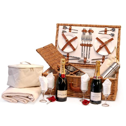 Fine Food Store Moet et Chandon Champagne and Laurent-Perrier Brut Champagne with Deluxe Sandringham 4 Person Wicker Picnic Hamper Cooler Basket 75 cl