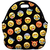 Jian Ya Na Kids' Lunch Bags Cute Printing Tote Bags Portable Insulated Thermal Cooler Storage Container Picnic Lunch Boxes For School Work Office Camping Travel (Black Emoji)