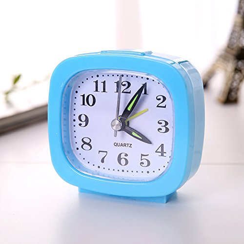 XIAOYANJIA Candy Ribbon Light Square Wecker Büro Haushalt Einfache Runde Wecker Student Clock Kleine Wecker Geschenk, Square Blue Blue Ribbon Candy