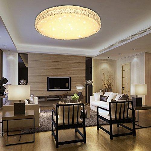 VGO® LED Kristall Deckenleuchte 60W Starlight Effekt Warmweiß Deckenbeleuchtung Rund Wohnzimmer Wandlampe Badezimmer geeignet