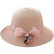 youkara verano sombrero de paja de moda las niñas playa sol sombrero gorra sombrero de ala ancha, mujer, rosa