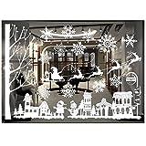 ODJOY-FAN Weiß Entfernbar Fenster Aufkleber Weihnachten Wandtattoos Restaurant Einkaufszentrum Dekoration Wandbilder Schnee Glas Wandaufkleber(D,1 PC)