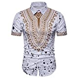 GreatestPAK Polo Hemd Herren Sommer Casual African Print Top Pullover T-Shirts Kurzarm Bluse,Weiß,XL