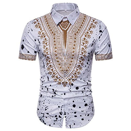 GreatestPAK Polo Hemd Herren Sommer Casual African Print Top Pullover T-Shirts Kurzarm Bluse,Weiß,XL (Dickies-kurzarm Polo Shirt)