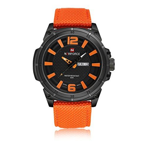 Gokelly Luxus Marke naviforce Modische Japan Bewegung Swiss Military Herren-Sport Uhren 30 m Wasserdicht Nylon Strap watch- orange