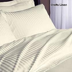 Crafts lino algodón egipcio de 500-de percale de-de ropa de cama satén de One sábana bajera y dos fundas de almohada para cama Euro rey ikea (+ 18 cm) bolsillo profundidad, a rayas marfiles