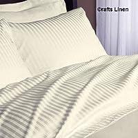 Crafts lino algodón egipcio sábana, satén 6piezas doble juego de sábanas (+ 36cm) bolsillo profundidad, marfil diseño de rayas