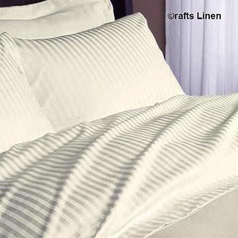 Crafts Linen Egyptian Cotton 600-Thread-Count Sateen 5 PCs Duvet Set ( 1 Duvet Cover Zipper Closer & 4 Pillow Case) Double Ivory