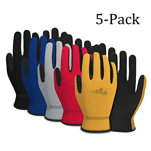 Vgo Glove Arbeitshandschuhe, Luxus, aus künstlichem Leder, Garten- und Arbeitshandschuhe, Multifunktion (5 Paare in verschieden Farben, 9/L & 10/XL)
