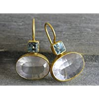 Blue Topaz and Rose Quartz Gemstone Gold Plated 925 Sterling Silver Drop Earrings Bridal Wedding Jewellery