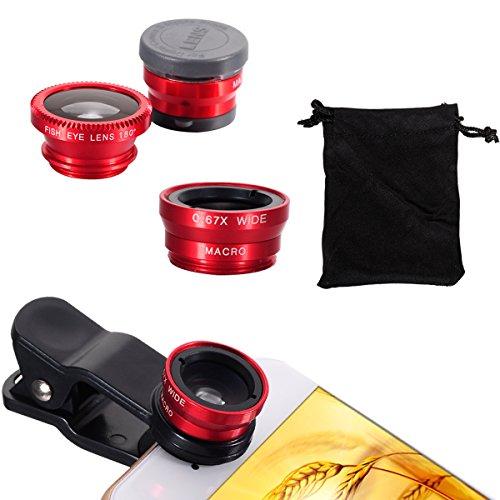 Nero Universale 6x HD Super Macro Lens + Obiettivo Fisheye + Wide Angel lens (Grandangolo Lente) + Micro lens + Clip + Pouch Borsa Carry bag Per Smartphone iPhone 3G / 3GS / 4G / 4S / 5 / 5G / 5C / 5S Rosso
