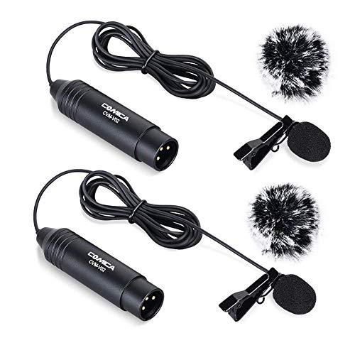 Comica XLR microfono CVM-V02C2 cardioide XLR Lavalier microfono da appuntare, microfono per camcorder Canon Sony Panasonic videocamere ZOOM H4n H5 H6 Tascam DR-40 DR-100 (2 pezzi)