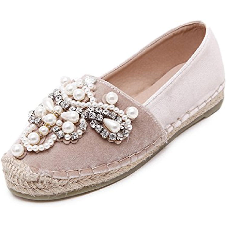 Easemax Femme Confortable Perles Bout Bout Perles Fermé Espadrilles - B075DV3VR1 - 437ad0