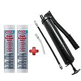 WD Tools Handhebel Fettpresse + 2 Kartuschen Fett, Presse für Fett