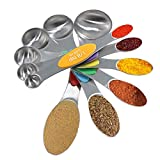 Waykino Magnetischer Edelstahl Messlöffel Set-6 Metall Genaue Löffel Messbecher für Trockene und Flüssige Zutaten Teelöffel und Esslöffel für Home, Kochen, Backen, Küche
