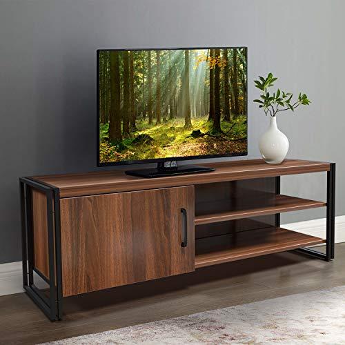 amzdeal Fernsehtisch TV Schrank für Fernseher bis zu 55 Zoll,TV Board mit Metallrahmen,TV Möbel Lowboard Tisch für Wohnzimmer,Fernsehschrank Holz,112x40x30cm,Dunkelbraun