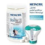 Metacril BROMO in pastiglie da 20gr - Brom Net 20 Multiazione kg.1 + Dosatore c/Termometro. per Piscine e Spa Idromassaggio (Teuco,Jacuzzi,Dimhora,Intex,Bestway,ECC.) Spedizione IMMEDIATA