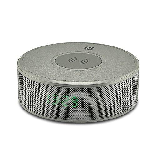 Soulitem Qi Wireless Charger Bluetooth Lautsprecher mit Integriertem Mikrofon NFC Zeitanzeige für iPhone X Samsung