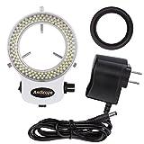 AmScope - Anello regolabile 144LED luce bianca, illuminatore per microscopio e fotocamera
