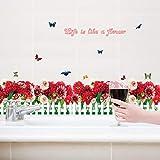 Chrysantheme blume schmetterling gras sockelleine diy hauptabziehbild baseboard wandaufkleber küche bad möbel hochzeit 120x84 cm