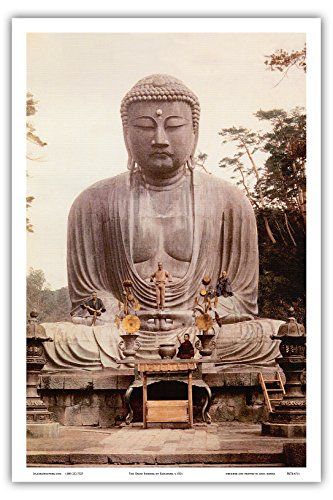 Pacifica Island Art The Great Buddha of Kamakura (Daibutsu) Statue - K_toku-in Temple, Japan - Vintage Religiöse Kunst c.1921 - Master Art Print 12